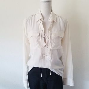 Equipment Femme White Knox Linen Top Lace-up XS